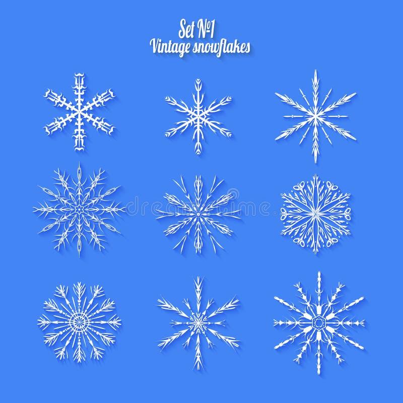 Metta 9 fiocchi di neve differenti bianchi di fatto a mano con ombra lunga royalty illustrazione gratis