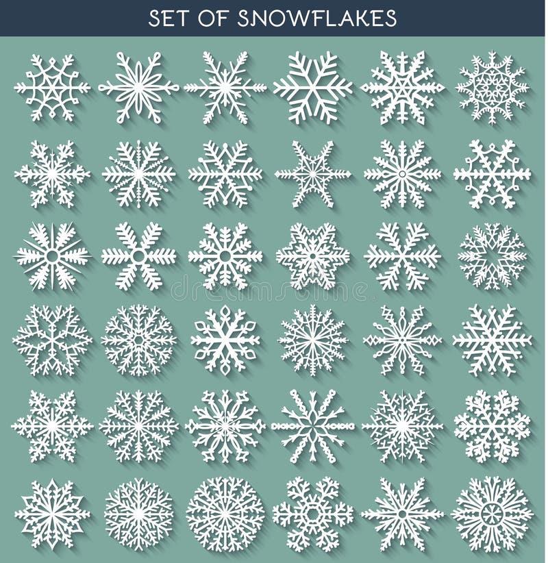 Metta 36 fiocchi di neve differenti bianchi fatti a mano con ombra lunga royalty illustrazione gratis