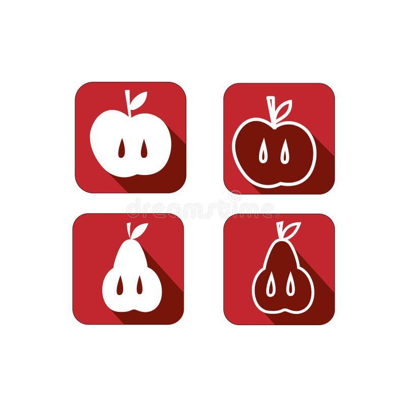 Metta fruttifica mela e pera sulle icone rosse fotografie stock