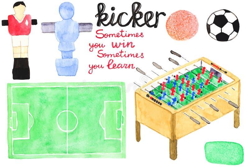 Metta gli elementi di progettazione di calcio-balilla o dell'estrattore a scatto dell'acquerello royalty illustrazione gratis
