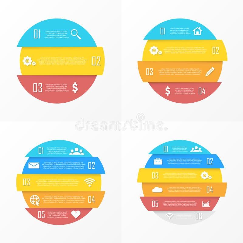 Metta gli elementi di vettore per infographic rotondo Il concetto di affari può essere usato per il grafico, l'opuscolo, il diagr illustrazione vettoriale