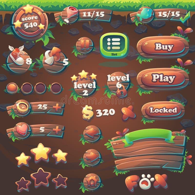 Metta gli oggetti di alimentazione la partita 3 del GUI della volpe royalty illustrazione gratis
