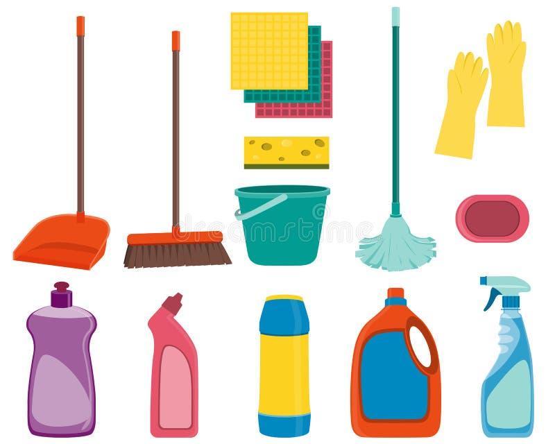 Metta gli strumenti per pulire illustrazione vettoriale