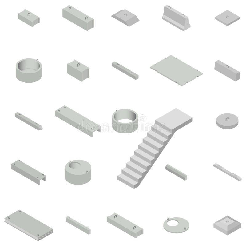 Metta i conglomerati per la produzione di cemento del ferro isometrici, illustrazione di vettore royalty illustrazione gratis