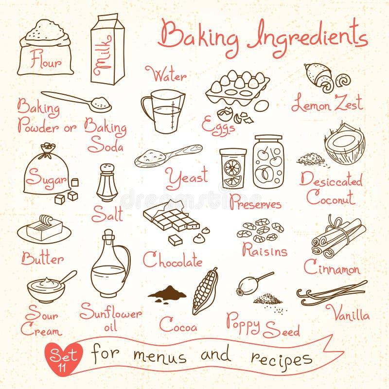 Metta i disegni degli ingredienti di cottura per progettazione illustrazione di stock