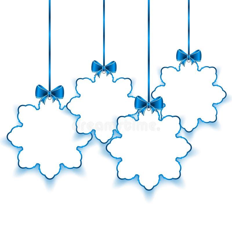 Metta i fiocchi di neve di carta di Natale con gli archi, su bianco indietro illustrazione vettoriale