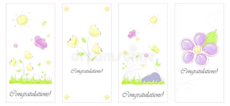 Metta i fiori di farfalla della carta disegnati a mano illustrazione di stock