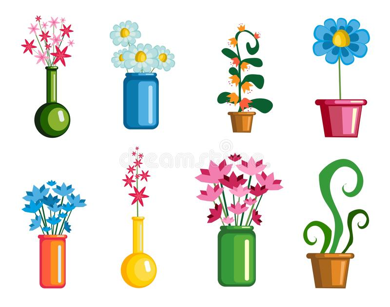 Metta i fiori su un fondo bianco royalty illustrazione gratis