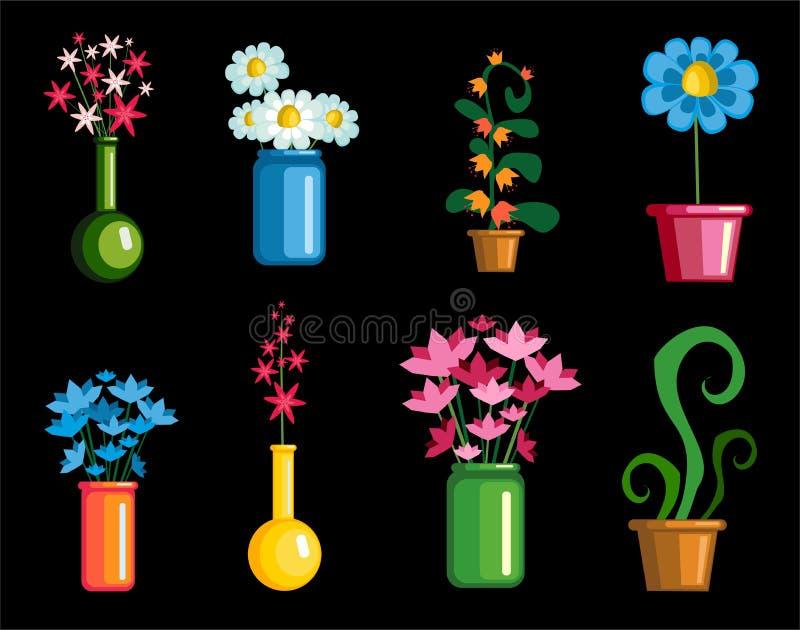Metta i fiori su un fondo nero illustrazione di stock