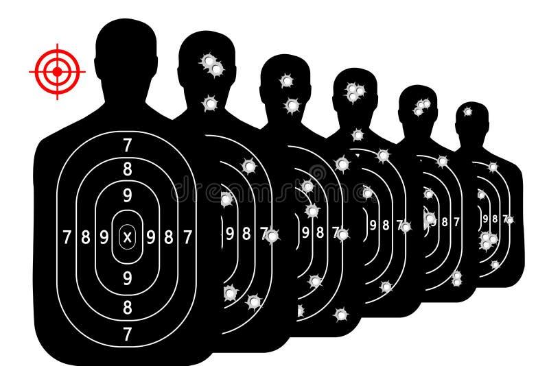 Metta i fori di pallottola di vettore del fondo della gamma di fucilazione dell'obiettivo del colpo illustrazione vettoriale
