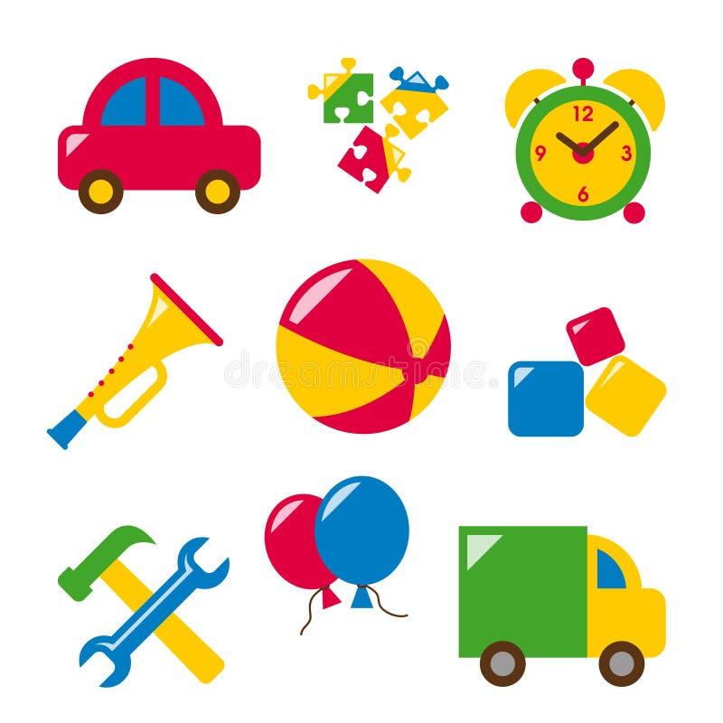 Metta i giocattoli del bambino illustrazione di stock