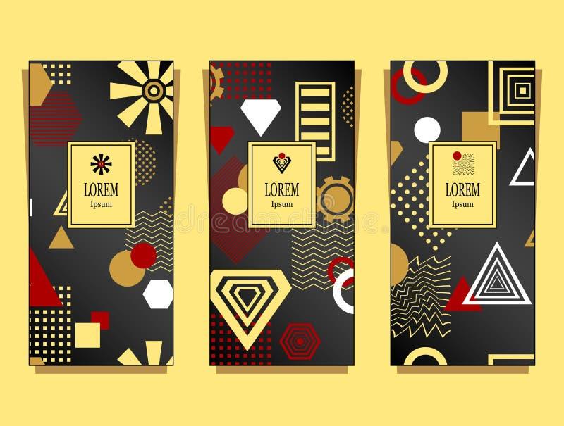 Metta i modelli con il modello geometrico astratto nel rosso nero dell'oro illustrazione di stock