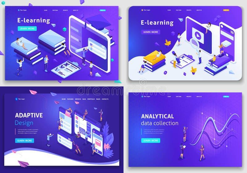 Metta i modelli del sito Web, il concetto per le tecnologie di affari, l'analisi dei dati, l'e-learning, progettazione adattabile illustrazione di stock