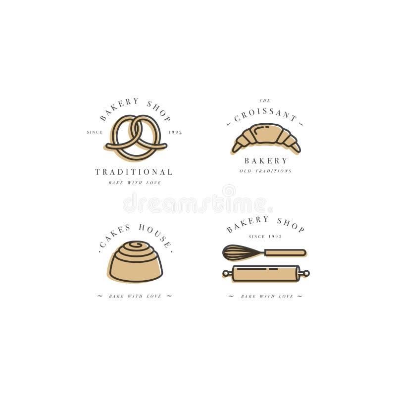 Metta i modelli di progettazione di vettore e gli emblemi - il bigné, ciambella e cuocia l'icona per il negozio del forno Negozio illustrazione vettoriale