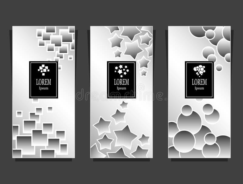 Metta i modelli per il pacchetto da fondo di lusso fatto dall'argento geometrico delle forme illustrazione di stock