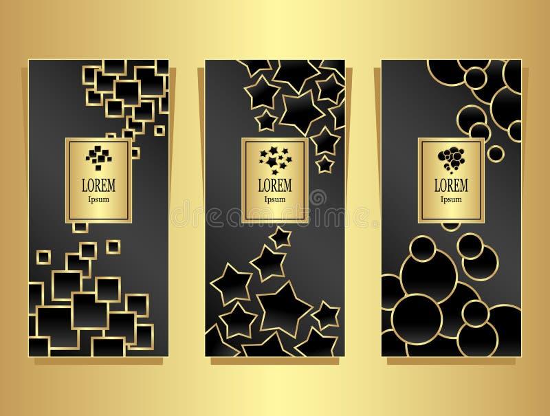Metta i modelli per il pacchetto da fondo di lusso fatto dall'oro geometrico delle forme sul nero illustrazione vettoriale