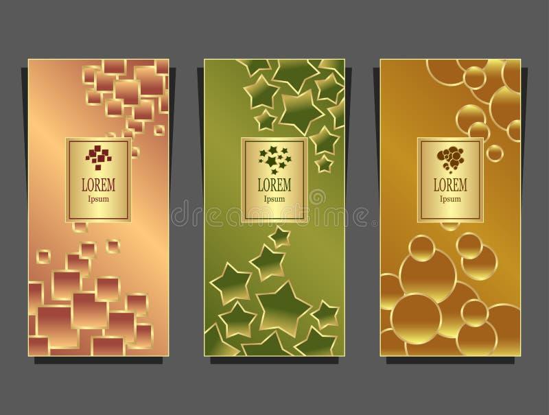 Metta i modelli per il pacchetto da fondo di lusso reso dalle forme geometriche variopinto illustrazione di stock