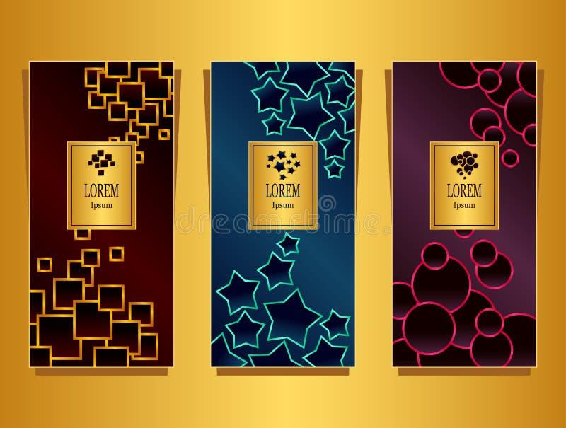 Metta i modelli per il pacchetto da fondo di lusso reso dalle forme geometriche variopinto royalty illustrazione gratis