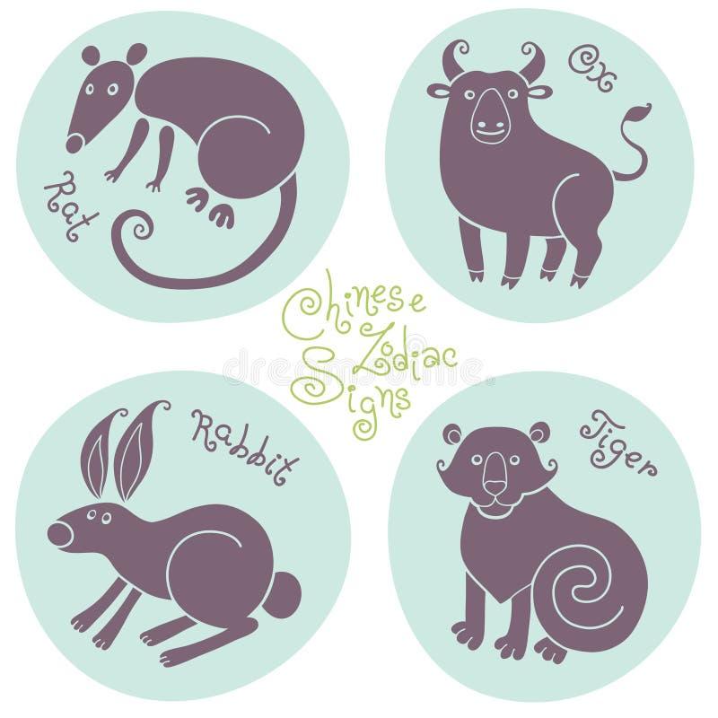 Metta i segni dello zodiaco cinese royalty illustrazione gratis