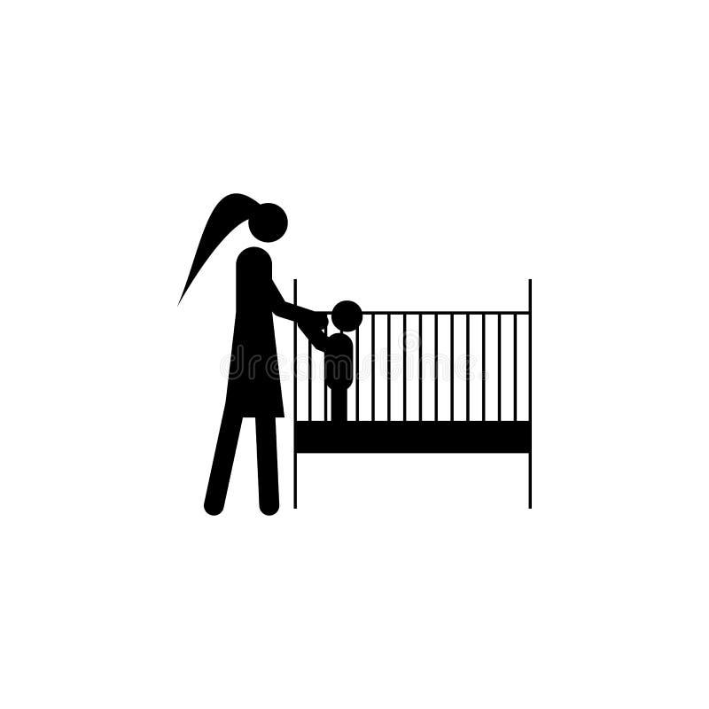 metta il bambino all'icona di sonno Elemento dell'illustrazione dei coniugati di vita Icona premio di progettazione grafica di qu royalty illustrazione gratis