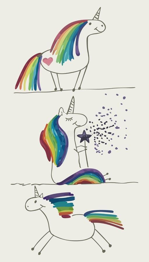 Metta il cavallino dell'arcobaleno illustrazione di stock