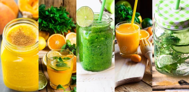 Metta il collage che rinfresca le bevande sane l'acqua e frullati infusi disintossicazione dalla frutta e dalle verdure Agrume, z fotografie stock