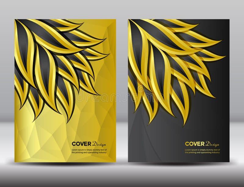 Metta il illustratio di vettore di progettazione del rapporto annuale della copertura del nero e dell'oro illustrazione di stock