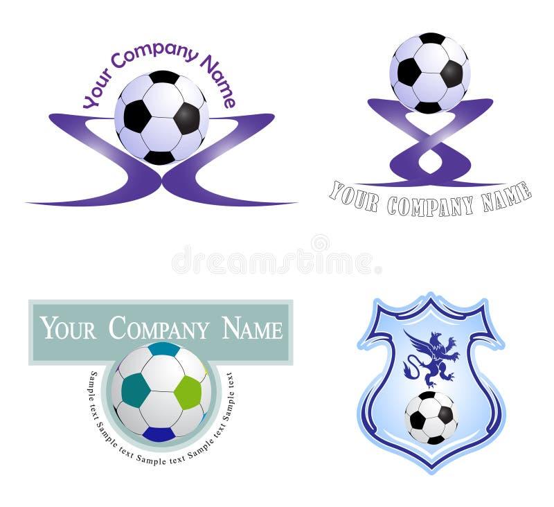 Metta il logos dei palloni da calcio illustrazione di stock