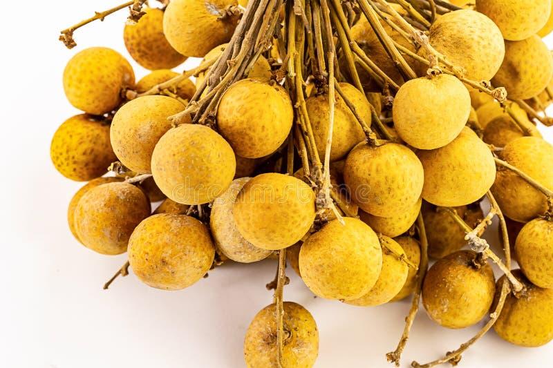 Metta il lotto esotico del dessert dell'ingrediente della pelle esile succosa della frutta del longan del ramo del giro su un fon fotografia stock libera da diritti