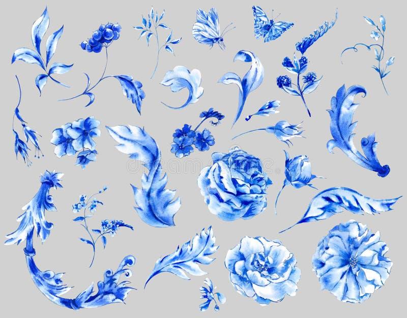 Metta il mazzo d'annata dell'acquerello delle rose illustrazione di stock