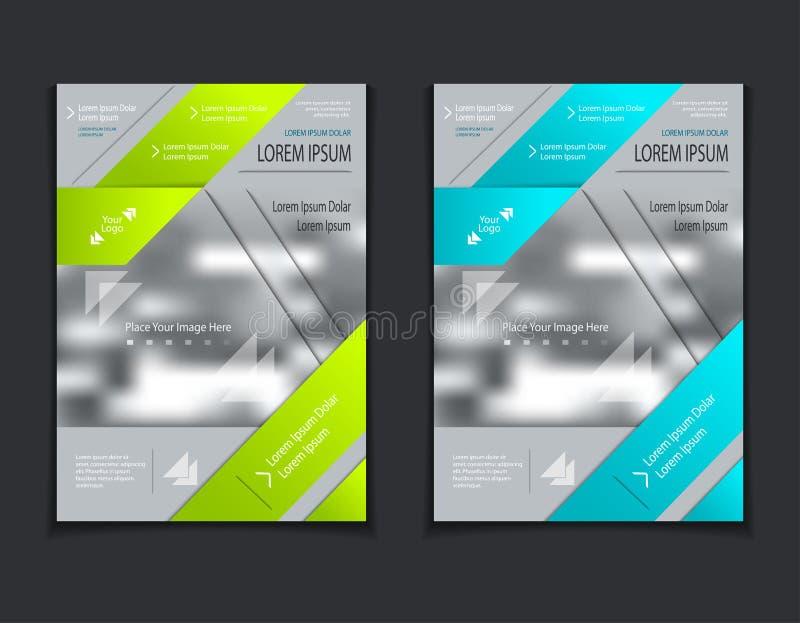 Metta il modello delle alette di filatoio o opuscoli o coperture di riviste su fondo grigio illustrazione vettoriale