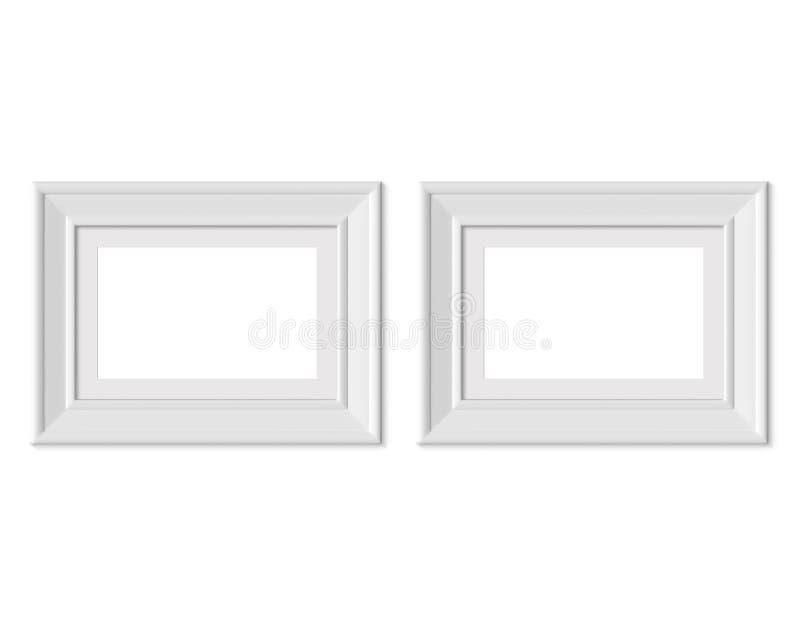 Metta 2 il modello orizzontale della cornice del paesaggio di 2x3 A4 Stuoia di pagina con gli ampi confini Bianco di legno o di p illustrazione di stock