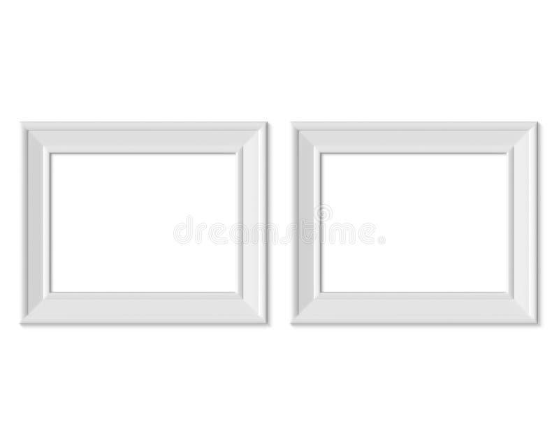 Metta il modello orizzontale della cornice del paesaggio 2 3x4 Spazio in bianco bianco di legno o di plastica della carta di Real illustrazione di stock