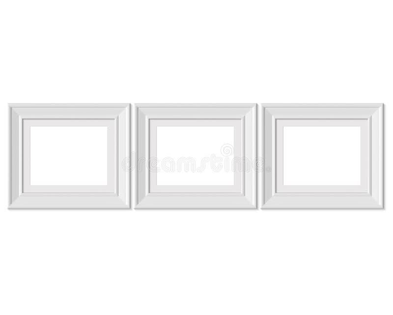 Metta il modello orizzontale della cornice del paesaggio 3 4x5 Stuoia di pagina con gli ampi confini Spazio in bianco bianco di l illustrazione vettoriale