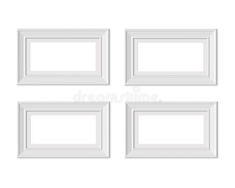Metta il modello orizzontale della cornice del paesaggio 4 1x2 Stuoia di pagina con gli ampi confini Spazio in bianco bianco di l royalty illustrazione gratis