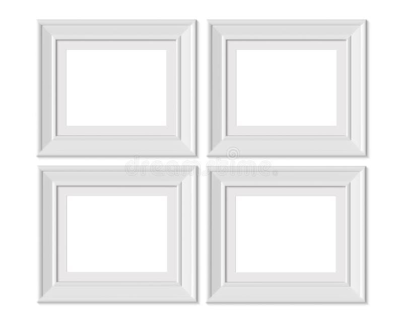 Metta il modello orizzontale della cornice del paesaggio 4 4x5 Stuoia di pagina con gli ampi confini Spazio in bianco bianco di l illustrazione di stock