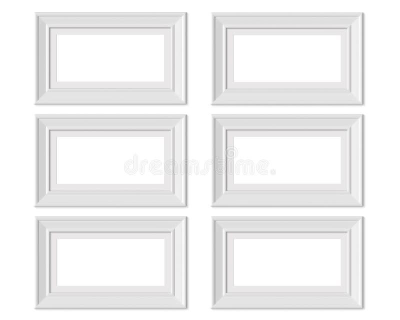 Metta il modello orizzontale della cornice del paesaggio 6 1x2 Stuoia di pagina con gli ampi confini Spazio in bianco bianco di l illustrazione vettoriale
