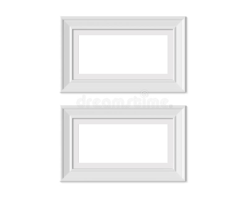 Metta il modello orizzontale della cornice del paesaggio 2 1x2 Stuoia di pagina con gli ampi confini Spazio in bianco bianco di l illustrazione di stock