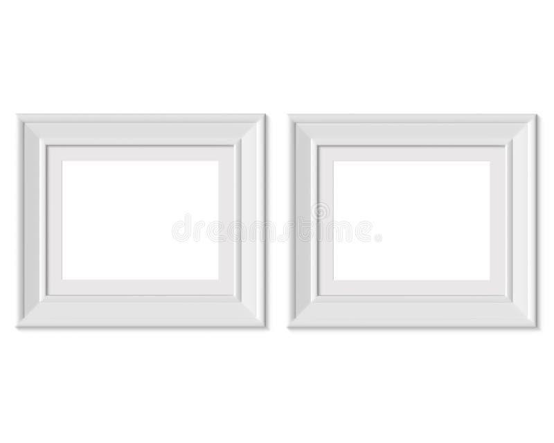 Metta il modello orizzontale della cornice del paesaggio 2 4x5 Stuoia di pagina con gli ampi confini Spazio in bianco bianco di l illustrazione di stock