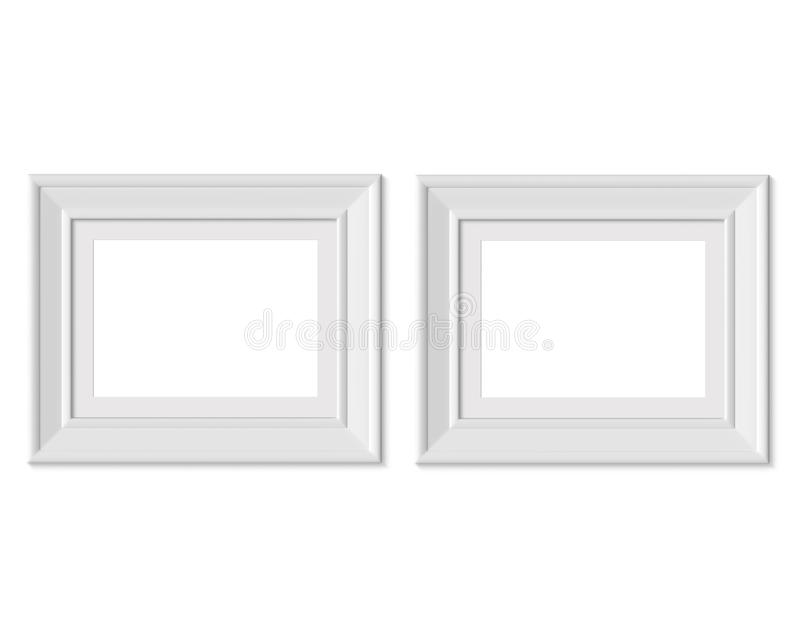 Metta il modello orizzontale della cornice del paesaggio 2 3x4 Stuoia di pagina con gli ampi confini Spazio in bianco bianco di l illustrazione di stock