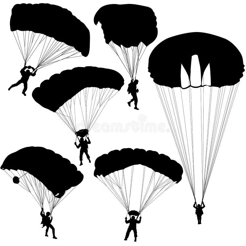 Metta il paracadutista, illustrazione paracadutante di vettore delle siluette illustrazione vettoriale
