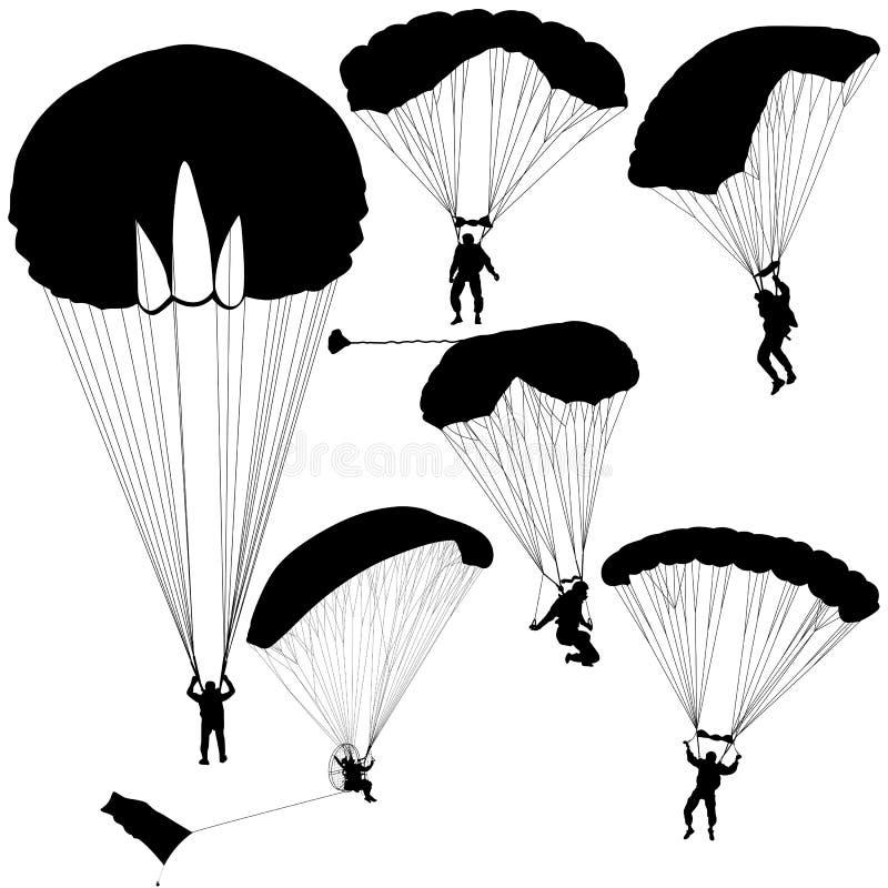 Metta il paracadutista, illustrazione paracadutante di vettore delle siluette illustrazione di stock