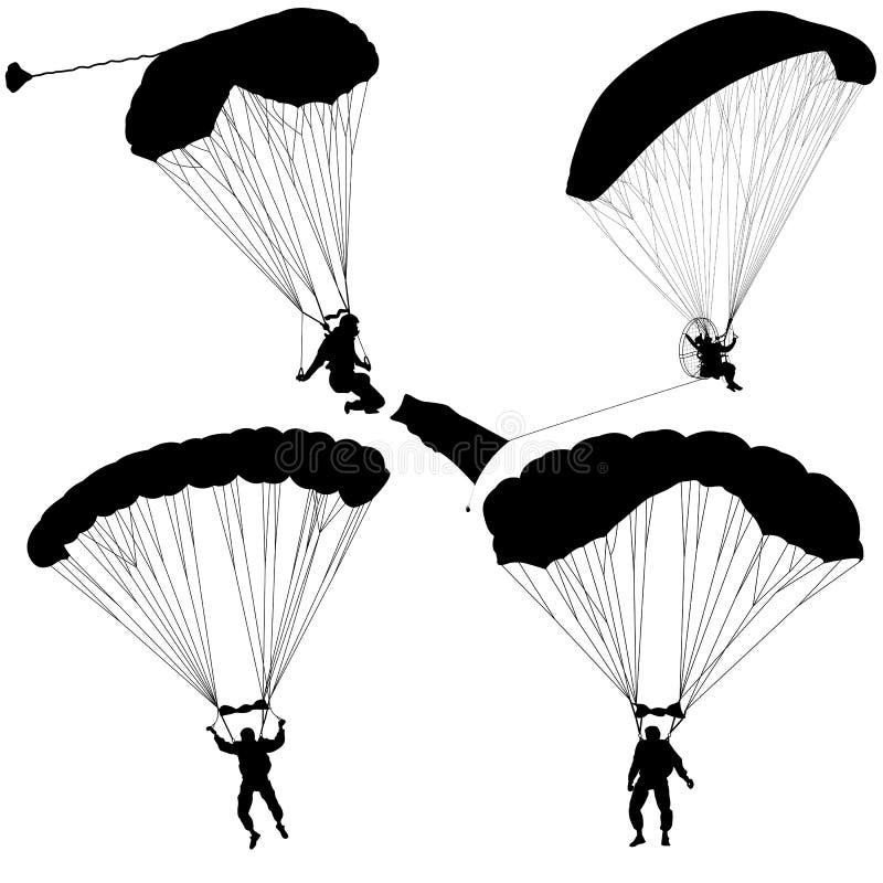 Metta il paracadutista, illustrazione paracadutante di vettore delle siluette royalty illustrazione gratis