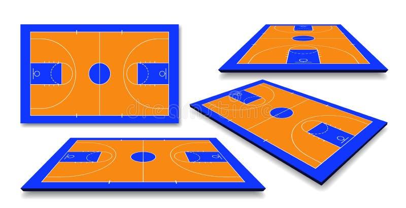 Metta il pavimento del campo da pallacanestro di prospettiva con la linea Illustrazione di vettore royalty illustrazione gratis