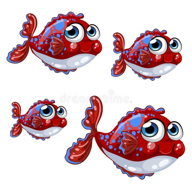Metta il pesce rosso gonfiato del fumetto con i punti blu isolati su un fondo bianco Illustrazione di vettore illustrazione vettoriale