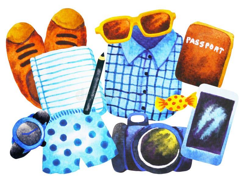Metta l'acquerello di punto di vista superiore dei pantaloni a vita bassa dei vestiti degli uomini che dipinge disegnato a mano illustrazione di stock