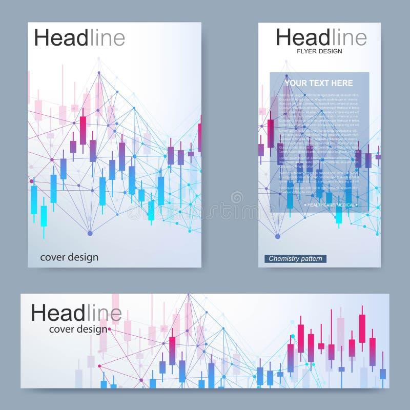 Metta l'aletta di filatoio, il modello di dimensione A4 dell'opuscolo, insegna Mercato azionario o grafico commerciale dei forex  illustrazione vettoriale