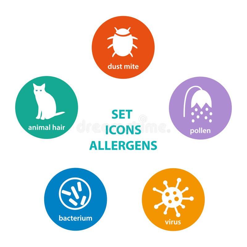 Metta l'allergene delle icone illustrazione vettoriale