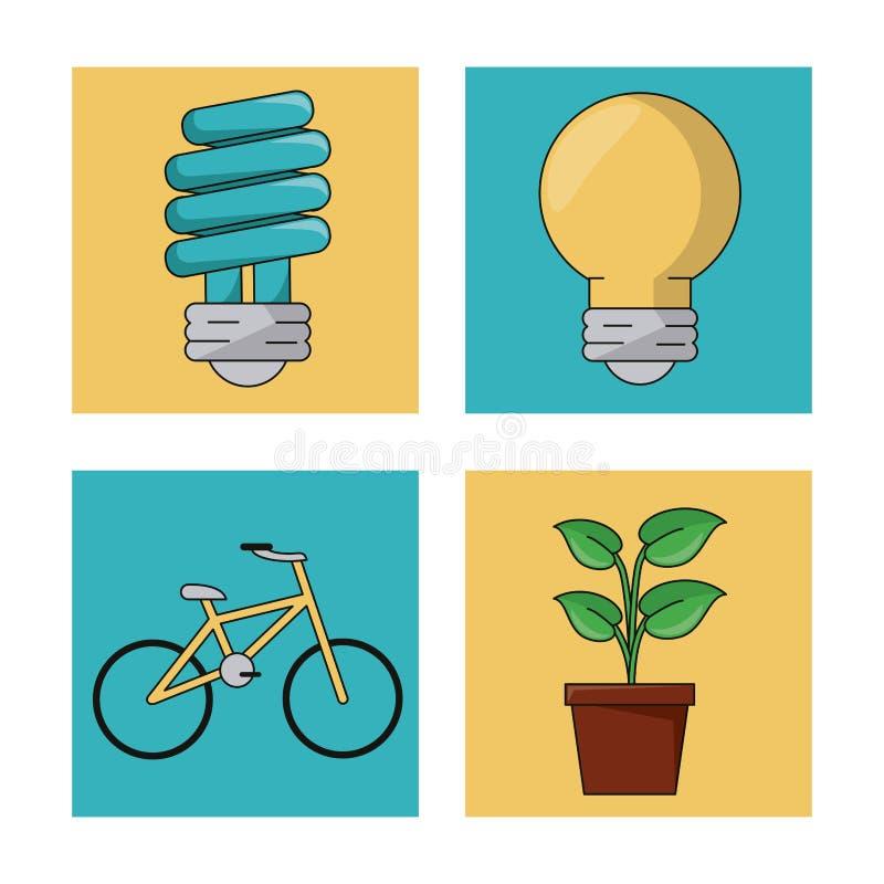 Metta l'ambiente dell'ecologia riciclano le icone della natura di conservazione illustrazione di stock