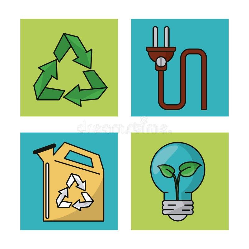 Metta l'ambiente dell'ecologia riciclano le icone della natura di conservazione illustrazione vettoriale